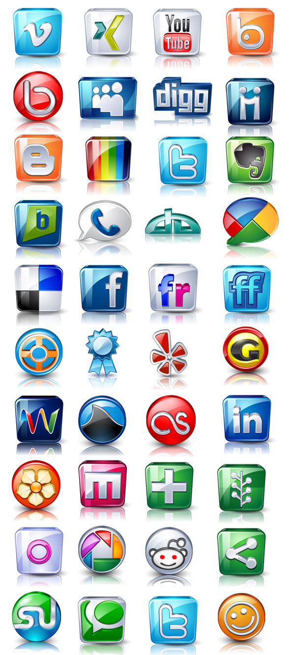 Free High detail social icons Download