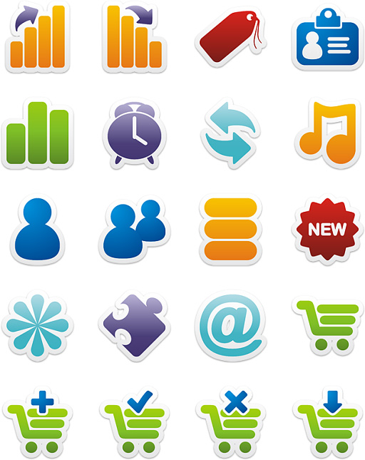 Free Colorful Stickers Part 3 Icons Download